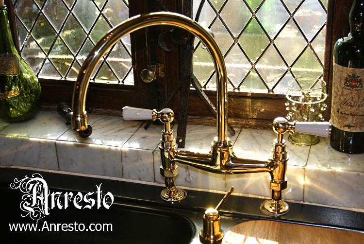 Engelse Keuken Maten : ANRESTO, warm- en koud waterkraan. Antieke Originele engelse bad